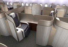 Luxurious business class cabin interior with metallic gold partition. Royalty Free Stock Photos
