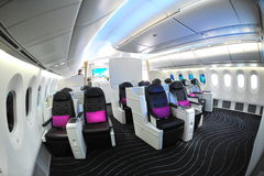 Luxurious business class seats in the new Boeing 787 Dreamliner at Singapore Airshow 2012 Stock Photography
