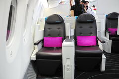 Luxurious business class seats in the new Boeing 787 Dreamliner at Singapore Airshow 2012 Stock Images