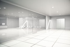 Luxurious business interior side. Luxurious light business interior with reception, waiting area, glass doors, tile floors and concrete walls. Side view, 3D Royalty Free Stock Photography