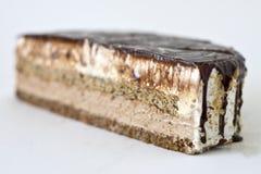 Luxurious cake. Close up of slice of luxurious cake isolated on white background Stock Images