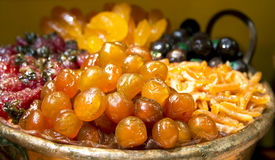 Luxurious candied fruit are in the pastry shops Royalty Free Stock Photo