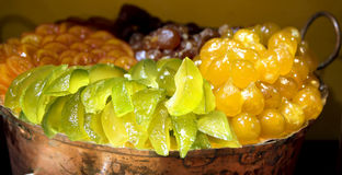 Luxurious candied fruit are in the pastry shops Royalty Free Stock Images