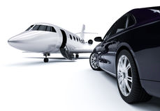 Luxurious Car an Airplane Royalty Free Stock Photography