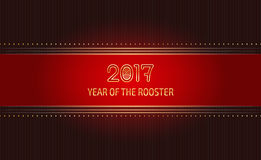Luxurious card template. 2017, the Year of the Fire Rooster in Chinese Horoscope. Vector red ribbon background, suitable for greeting card, certificate or Royalty Free Stock Photography