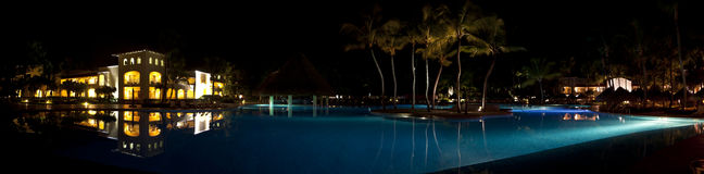 Luxurious Caribbean resort at night Stock Image