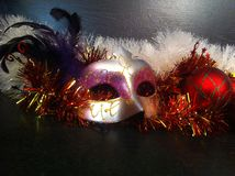 Carnival mask with feathers. Luxurious carnival mask with feathers allows you to create a bright carnival image stock photos