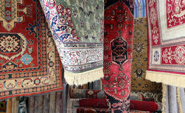 Luxurious carpets of fine oriental manufacturing for sale Royalty Free Stock Images