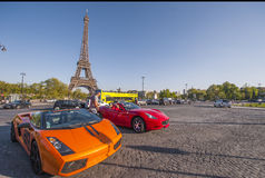 Luxurious Cars near the Eiffel Tower Stock Photo