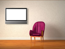 Luxurious chair with lcd tv in interior Stock Image