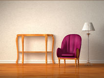 Luxurious chair with wooden console and stand lamp. In minimalist interior Stock Image