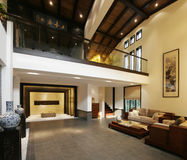 Luxurious Chinese home. Luxurious interior of a wealthy, spacious Chinese home stock photo