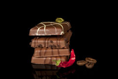 Luxurious chocolate with chili pepper Stock Image