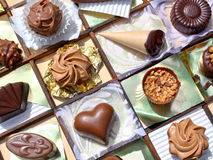 Luxurious chocolates. Close up of assorted homemade luxurious chocolates in decorative tray Stock Photography