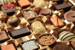 Luxurious Chocolates in box. Luxurious Chocolates in various shapes and flavors in a gift box Stock Photos