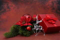 Luxurious christmas dedcoration on red background Stock Photography