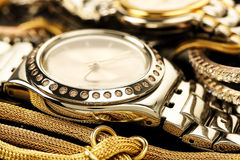 Luxurious chrome watch Royalty Free Stock Images