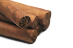 Luxurious cigars. Close-up pictures of some real Cuban cigars Stock Images