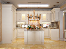 Luxurious Classic Baroque Kitchen and Dining Room Stock Photos