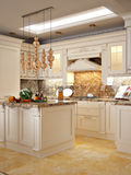 Luxurious Classic Baroque Kitchen and Dining Room Royalty Free Stock Photo
