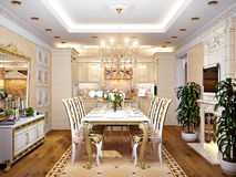 Luxurious Classic Baroque Kitchen and Dining Room Royalty Free Stock Images