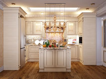 Luxurious Classic Baroque Kitchen and Dining Room Stock Photography