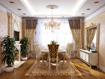 Luxurious Classic Baroque Kitchen and Dining Room Stock Photo