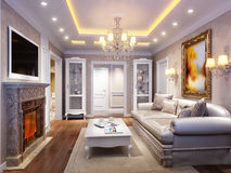 Luxurious classic baroque living room interior. Design with large marble fireplace, wooden floors, white furniture, ceiling and walls decorated with molded Stock Photo