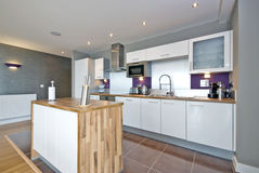 Luxurious and clean fully fitted kitchen. Luxurious fully fitted kitchen with appliances in white Stock Photography