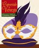 Luxurious Colombina Mask with Feathers for Venetian Carnival Celebration, Vector Illustration Stock Images