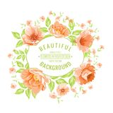 Luxurious color peony label. Royalty Free Stock Photo
