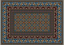 Design carpet with ethnic ornament of blue patterns and motley center  Stock Images