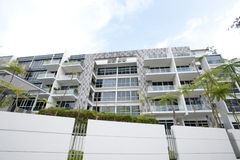Luxurious condominium. A row of luxurious condominium and private housing in the city royalty free stock photos