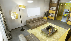 Luxurious contemporary living room in pale grey, yellow and brow Royalty Free Stock Photography