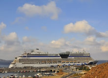 The luxurious cruise ship in the sea port of Greece Stock Image