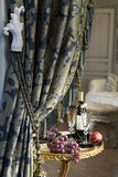 Luxurious curtain from woollen cloth with tassel Royalty Free Stock Images