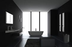 Luxurious Dark bathroom. A 3d rendering of luxurious dark bathroom Stock Image
