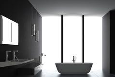 Luxurious Dark bathroom. A 3d rendering of luxurious dark bathroom Royalty Free Stock Images