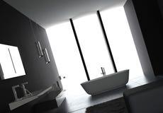Luxurious Dark bathroom. A 3d rendering of luxurious dark bathroom Stock Photo