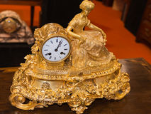 Luxurious decorative golden alarm clock Royalty Free Stock Image