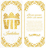 The luxurious design of the flyer. Inscription VIP of floral decorative pattern on a white background. Stock Photos
