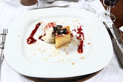 Luxurious dessert. Luxurious ice cream and cake dessert on white plate dressed with red flavoring stock images