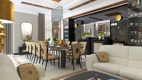 Luxurious dining room interior. 3d Illustration Stock Image