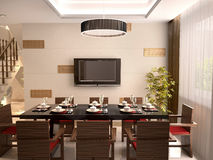 A luxurious dining room with table Royalty Free Stock Image
