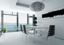 Luxurious dining table against floor to ceiling window vector illustration