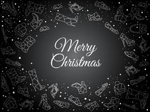 Luxurious and elegant black holiday wallpaper with big place for text and snow. Handwritten Merry Christmas title. royalty free illustration
