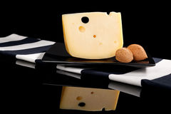 Luxurious emmental cheese still life. Stock Image