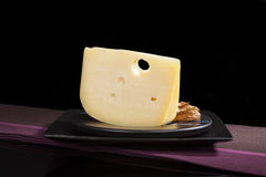 Luxurious emmentaler cheese. Royalty Free Stock Image