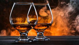 Luxurious and expensive French brandy in a glass.  royalty free stock photography