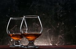 Luxurious and expensive French brandy in a glass stock image